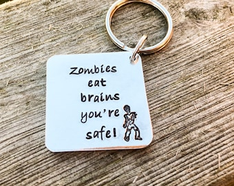 Hand Stamped Zombie Apocalypse Keyring can be personalised if preferred. The Walking dead gift, valentines gift, zombie keyring