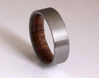 wood ring titanium band wedding ring woman wood man jewelry engagement ring wood wedding band Honduras ROSE WOOD