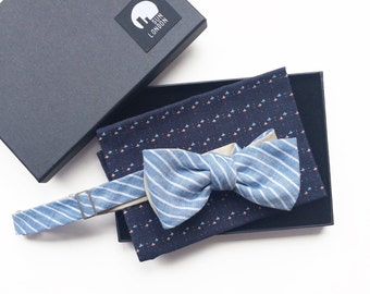 Reversible Bow Tie - Blue Stripes & Cream Dots, Self-Tie, Men's Bow Tie