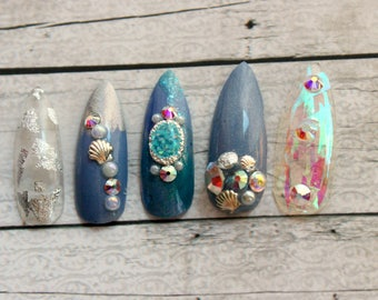 Shattered Glass Seashell Nails    Long Stiletto or Coffin Press On Nails   Seashell Nails   Blue and Silver Nails   Glue On Acrylic Nails
