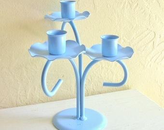 Light Bright Blue Curvy Candelabra Centerpiece for 3 Candles