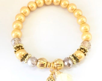 Stretch Bracelet~Gold Pearls~Flower Charm