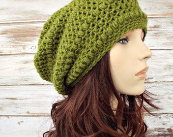 Crochet Hat, Green Womens Hat, Green Slouchy Beanie, Penelope Puff Stitch Slouchy Hat, Grass Green Hat, Green Beanie, Womens Accessories