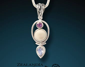 Finding Balance - Hand Carved Tagua Nut Pendant with Amethyst