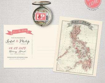Destination wedding invitation The Philippines Boracay Manila Save the Date Postcard bilingual wedding invitation DEPOSIT PAYMENT