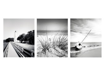 Nautical Art, 8x10 Set of 3, Black and White Photography, Beach Print, Outer Banks, Wall Art, Sailboat Art, Ocracoke Lighthouse,Ocean Decor