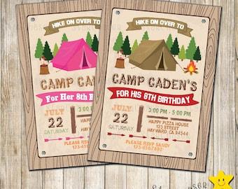 Digital Camping birthday invitation. Printable Camping. Outdoor Birthday