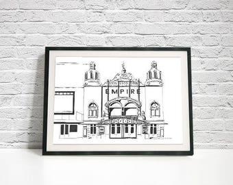 Hackney Empire Cinema Print / Monochrome Art / Black & White Print / Hackney Print / London Art Print / Architecture Print / London Landmark