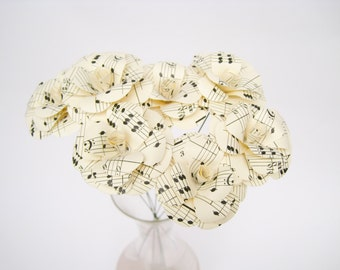 6 Mendelssohn Paper Roses, Music Sheet Paper Flowers, White Paper Flower, Paper Wedding Decor, Table Centerpiece, Vintage Flowers