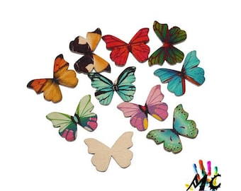 set of 10 wooden Butterfly embellishments