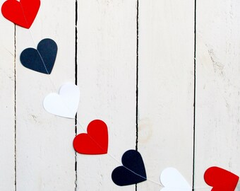 Paper heart garland, White,Red and Black heart garland, 5 feet,Party garland,Birthday party garland,Heart garland