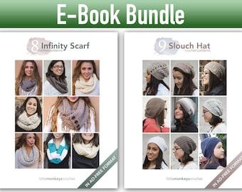 """Crochet Pattern E-Book Bundle: """"9 Slouch Hats"""" + """"8 Infinity Scarves"""" Crochet Patterns in PDF format (crochet patterns, pdfs, slouchy hats)"""