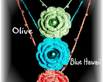 CROCHET FLOWER NECKLACE...Pick 3 from the many colors I have available for one low price!