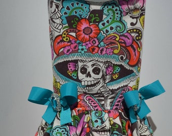 Dog Harness Vest - Day of the Dead - Skull - Mexican - Dog Dress - Dog Harness with Ruffle - Small Dog Dress - Large Dog Dress