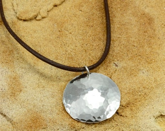 Hammered Silver Necklace with Leather Cord, Hammered Sterling Silver, Southwestern Necklace, Hammered Silver Disc