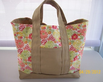 Tan & Coral Tote Bag - SALE