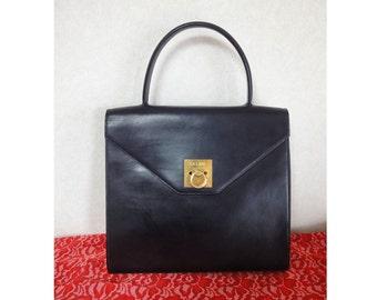 Vintage CELINE black and red calfskin leather Kelly bag. Must-have masterpiece from Celine.