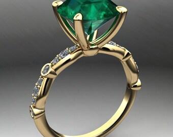 amelia ring – 3 carat emerald green NEO moissanite ring, vintage inspired ring