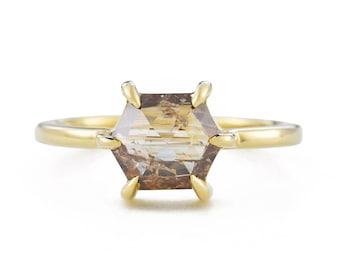 Honey Hexagon Rose Cut Diamond Ring, 14K Gold Brown Diamond Engagement Ring, Size 6 Resizing Available