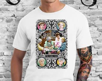 Golden Girls White T-Shirt. Blanche, Rose, Dorothy and Sophia. TV. Campy. Art. Print. Gay. Drag.