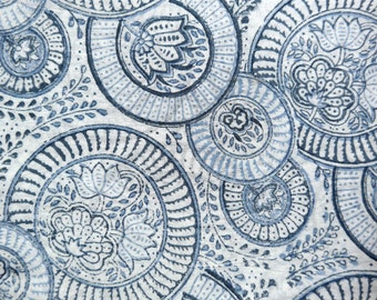 Blue Circles with Flowers - Cotton Fabric from India