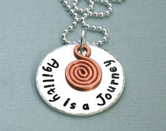 Agility is a Journey - Sterling Silver Disc with Copper Spiral Charm - Dog Agility Necklace - Canine Agility Jewelry
