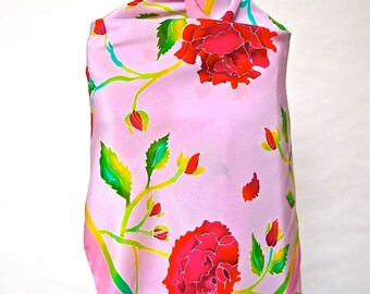 "Lavender Rose printed hand screened silk scarf for women. 27"" X 71"". Printed in Italy"