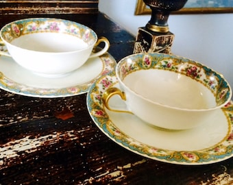 2 Bawo and Dotter Eliteworks Limoges Bullion Cups and Saucers