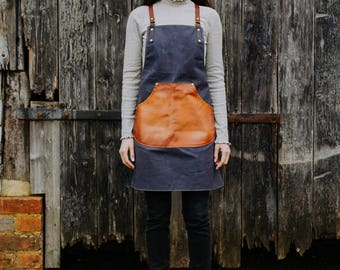 Waxed Canvas and Leather Apron - Mens Apron - Womens Apron - Canvas Apron - Barista's Apron - Custom Apron - Barbers Apron | by BLUE & GRAE