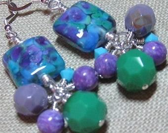 Blue, Green & Purple Handmade Glass Wild Berries Cluster Dangle Earrings - E536
