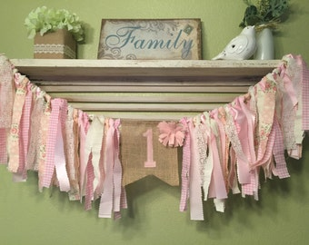 Rustic girls first birthday banner Rag Garland Banner Highchair Banner -  Pink Cream Lace burlap Tea Party decorations Shabby chic party