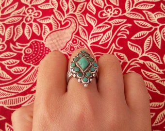 Turquoise silver tribal ring