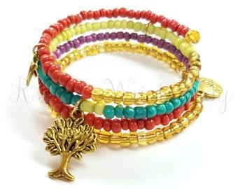 Beaded Wrap Bracelet, Boho Style, Coil Beaded Bracelet, Memory Wire Wrap Bracelet, Handmade, Custom, Beaded Jewelry, Women's Jewelry