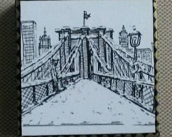 Brooklyn Bridge in Winter Art Panel