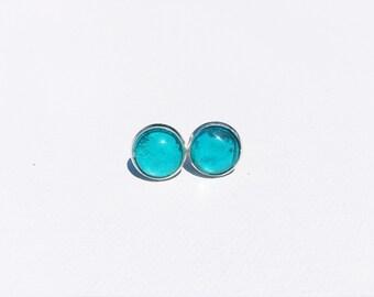 TEAL Stud Earrings, Teal earrings, Colorful earrings, gifts for her, gifts under 20, colorful stud earrings, nickel free, hypoallergenic