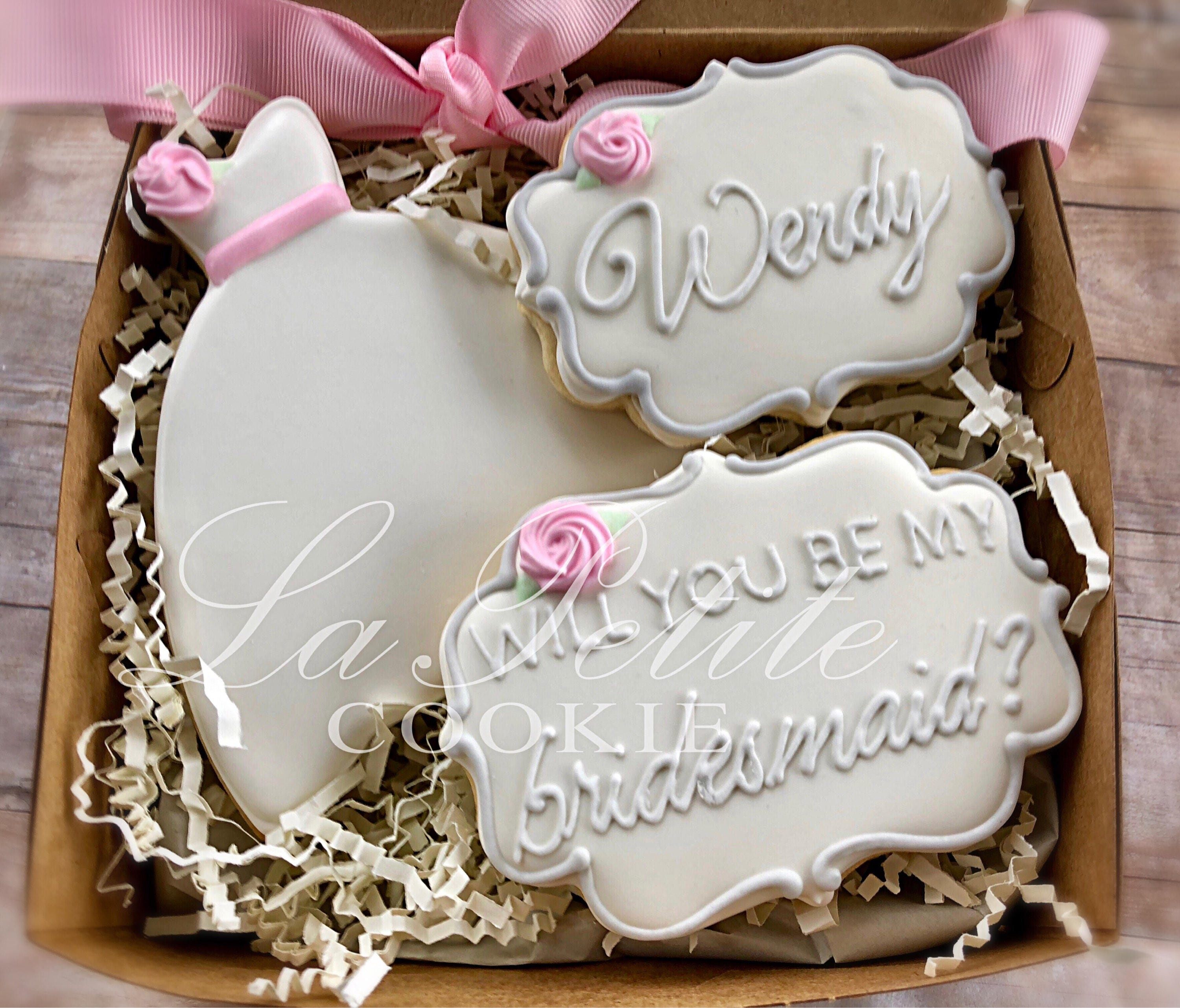 Bridesmaid Maid of Honor or Flower Girl cookie gift set