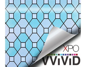 Privacy Stain Glass Window Film | Decorative Contact Paper Etch Glass Decal Vinyl | Green Geometric Stained Adhesive Window Cling | VViViD
