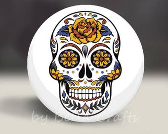 Sugar Skull - Magnet or Pin, or Pocket Mirror, 2.25 Inch Size Pinback Buttons, Macabre, Day of Dead, Home Decor, Party Favors, Bookbag Flair