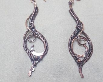 Copper Tendril Earrings