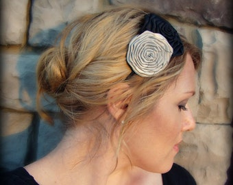 Black and Silver Double Folded Rose Headband for Women and Girls