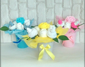 Baby Shower baby essentials flower pot gift maternity leave gift nappy cake