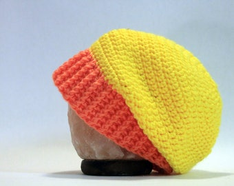 Hand Crocheted Slouch Beanie - Yellow Orange