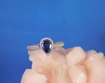 0.55 ct. Pear Ceylon Sapphire and Diamond Engagement Ring 14k Solid White Gold
