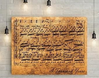 Bronze Anniversary Custom Music Sheet - 8th Wedding Anniversary Gift, First Dance/ Wedding Song Music Notes on Canvas