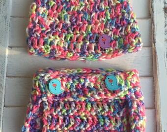 Handmade Newborn Diaper and Hat Set - multicolour