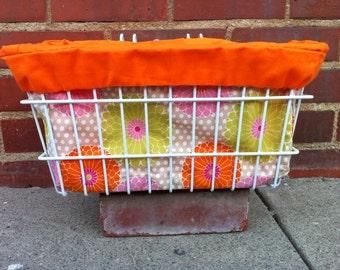 Orange Flowers Bicycle Basket Liner with Pocket