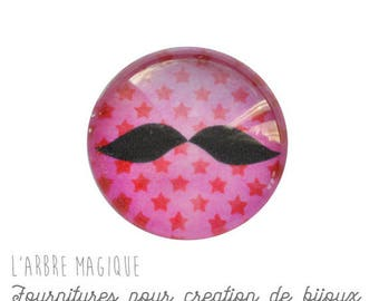 2 cabochons with stick mustache glass 20 mm M317