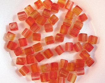 Red Orange Cube Acrylic Spacer Beads