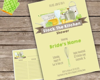 Green Stock the Kitchen Invitation with recipe card