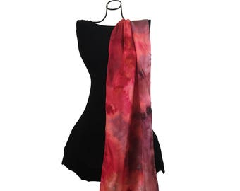 Silk Scarf Hand Dyed, Hand Painted Silk Scarf, Coral Red and Pink Scarf, Gift for Her, Long Scarf, Abstract Scarf